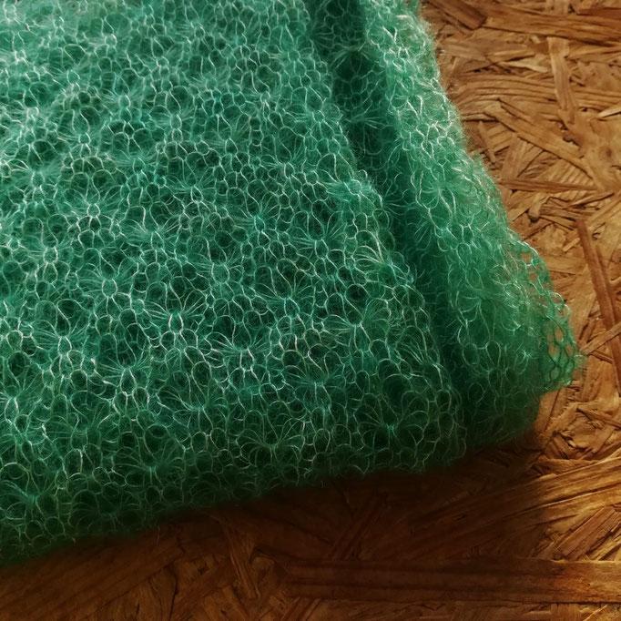 Verdon tricoté, écharpe Attrape cœur ( modèle personnel )