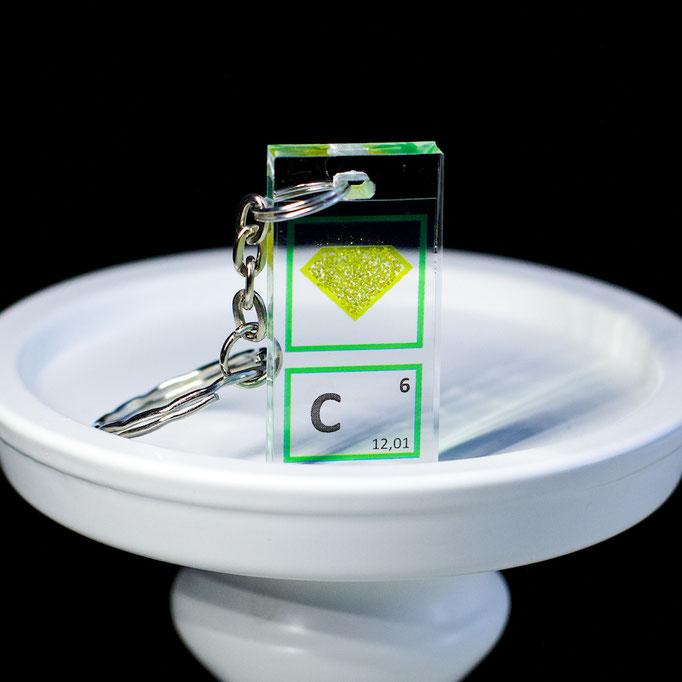 carbon keychain, diamond keychain, metal keychains, periodic table elements keychain, periodic table gift, periodic table gadgets, elements gift