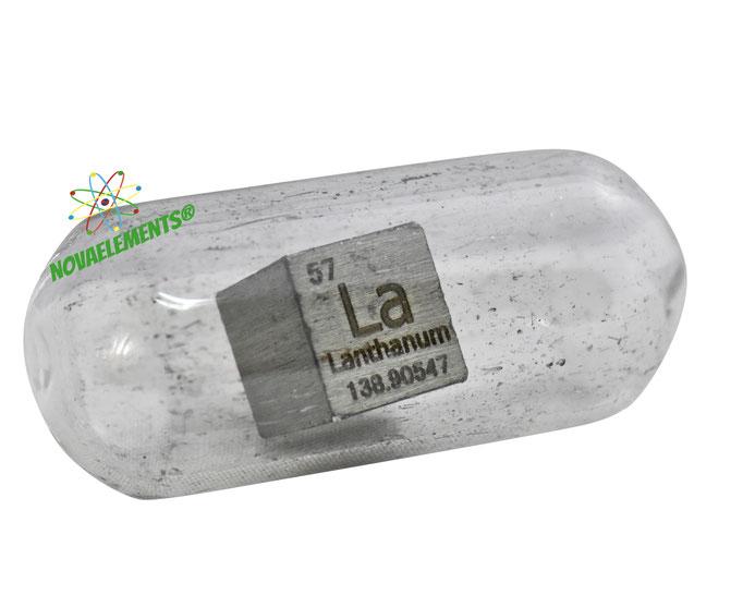 lanthanum density cube, lanthanum metal cube, lanthanum metal, nova elements lanthanum, lanthanum metal for element collection, lanthanum cubes, lanthanum metal