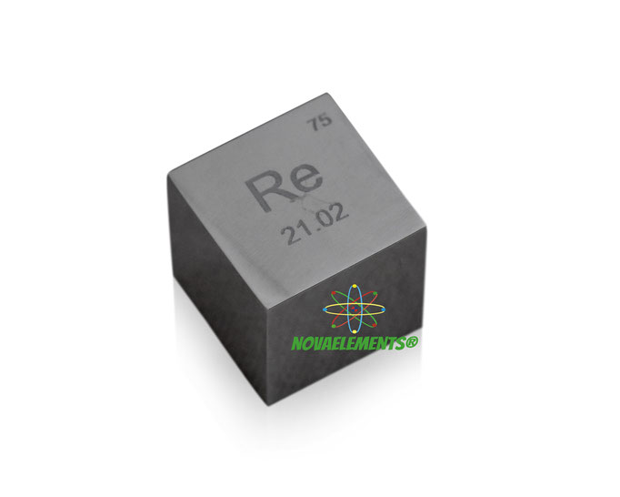 rhenium density cube, rhenium metal cube, rhenium metal, nova elements rhenium, rhenium for element collection