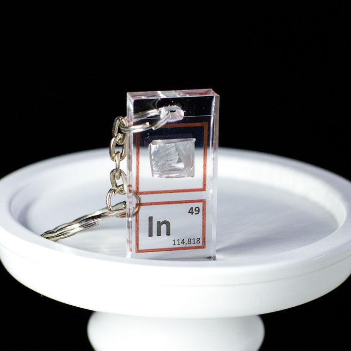 indium metal keychain, element keychain, metal keychains, periodic table elements keychain, periodic table gift, periodic table gadgets, elements gift