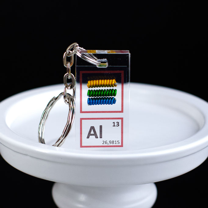 aluminium keychain, aluminum element keychain, metal keychains, periodic table elements keychain, periodic table gift, periodic table gadgets, elements gift