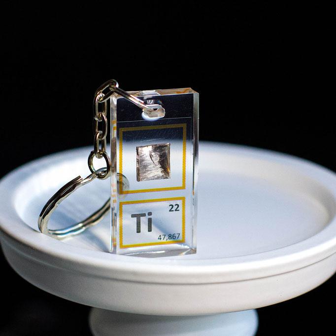 titanium metal keychain, element keychain, metal keychains, periodic table elements keychain, periodic table gift, periodic table gadgets, elements gift