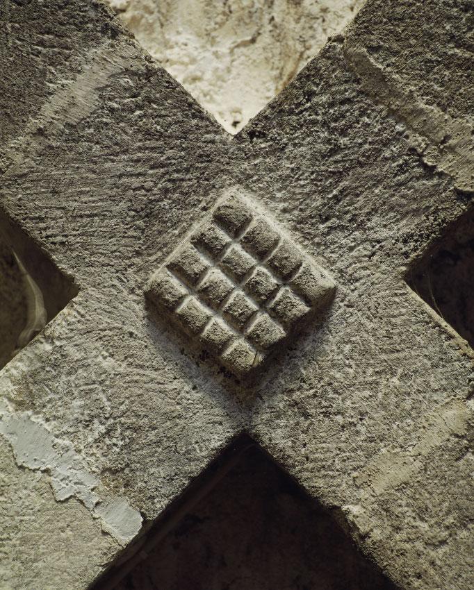 Abbaye de Beaulieu-en-Rouergue, clef de voûte du cellier