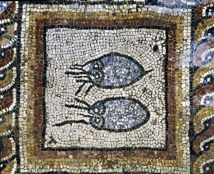 Villa gallo-romaine de Montcaret, piscine froide, détail du pavement mosaïqué