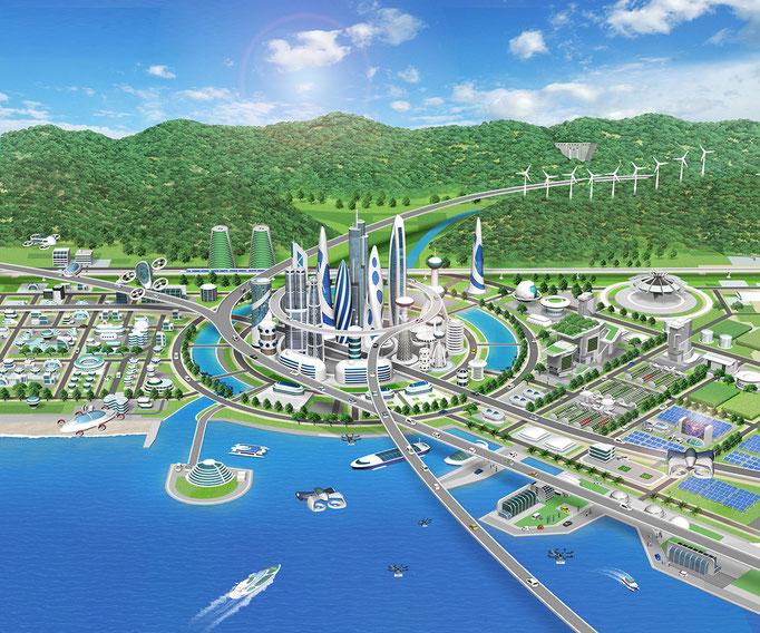 未来の街俯瞰 トヨタ社内報