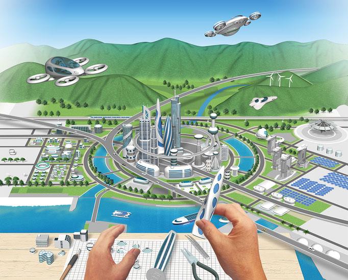 未来の街制作中 トヨタ社内報