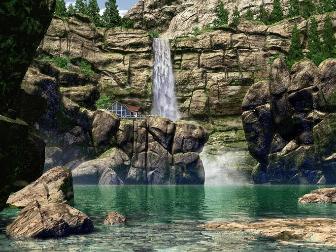 滝の見える家