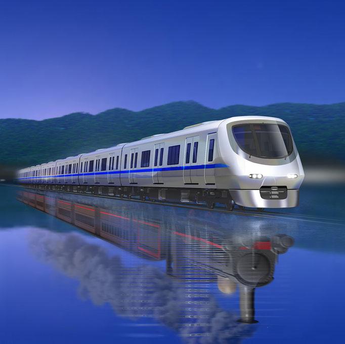 泉を走る列車