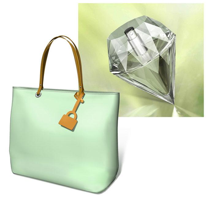 ダイヤ化粧瓶とトートバッグ