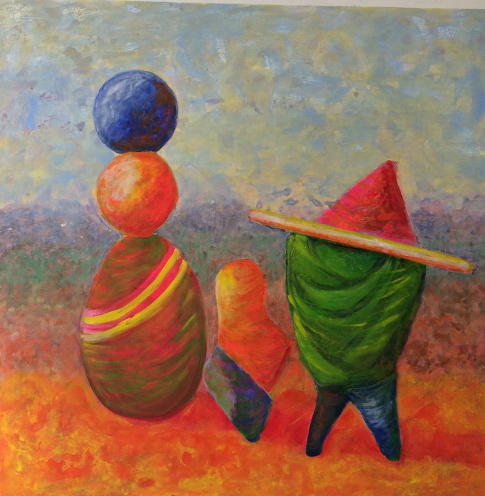 """""""African journey"""". Oil on canvas. 100 x 100 cms."""