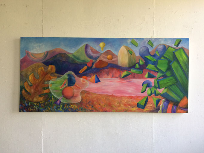 """""""Passionate imagination"""". Oil on canvas. 80 x 180 cms. 2018"""