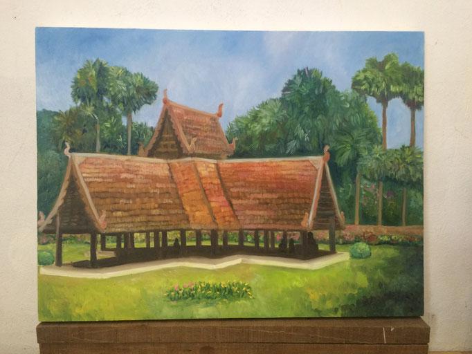 """Ton Kwen Temple, Chiang Mai"". 2017. Oil con canvas. 70 x 50 cms."