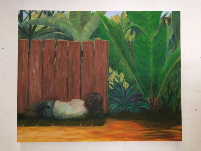 """La siesta / The nap"". Oil on canvas. 80 x100 cms."