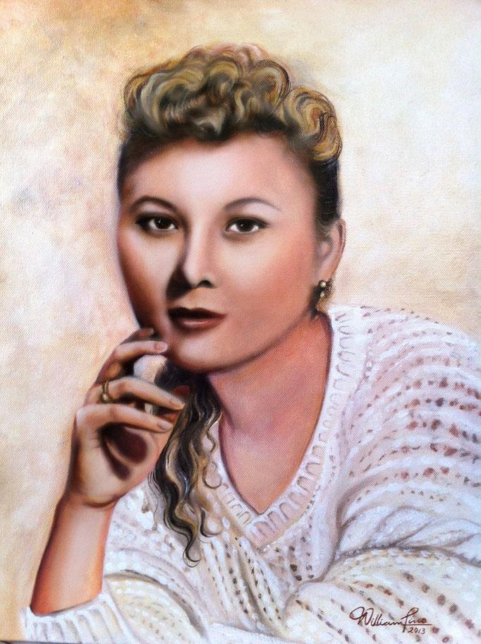 Retrato de una dama 40 x 50 cm. Óleo sobre tela