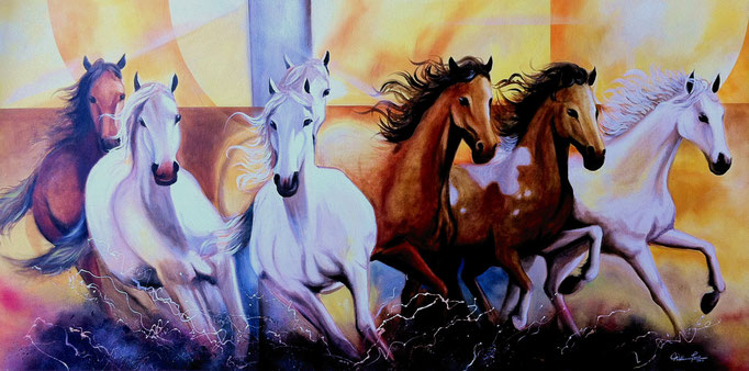"""Caballos, 2014"" 150 x 71 cm."