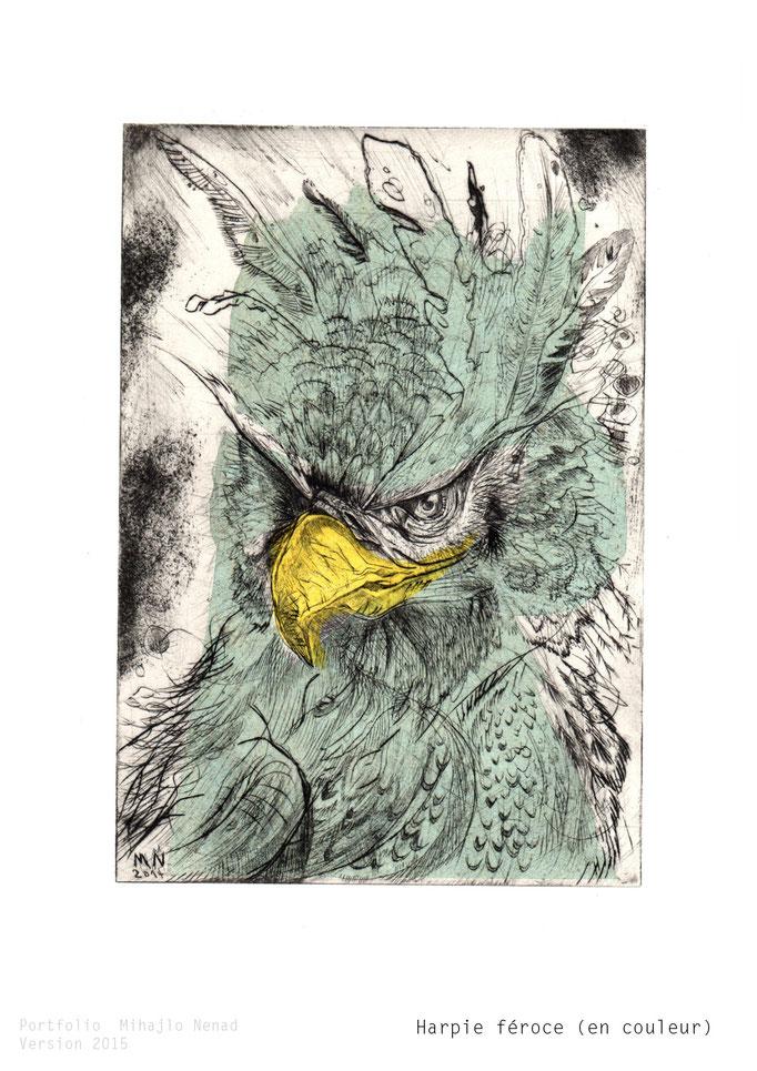 Harpie féroce, 19 x 27.5cm, Kupferstich(koloriert) - copper engraving(colored) ©Mihajlo Nenad