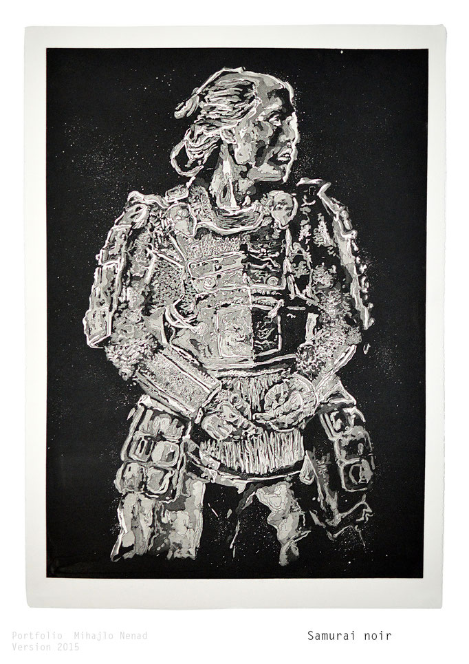 Samurai noir, 55 x 77cm, Kupferstich(Aquatinta) - copper engraving ©Mihajlo Nenad