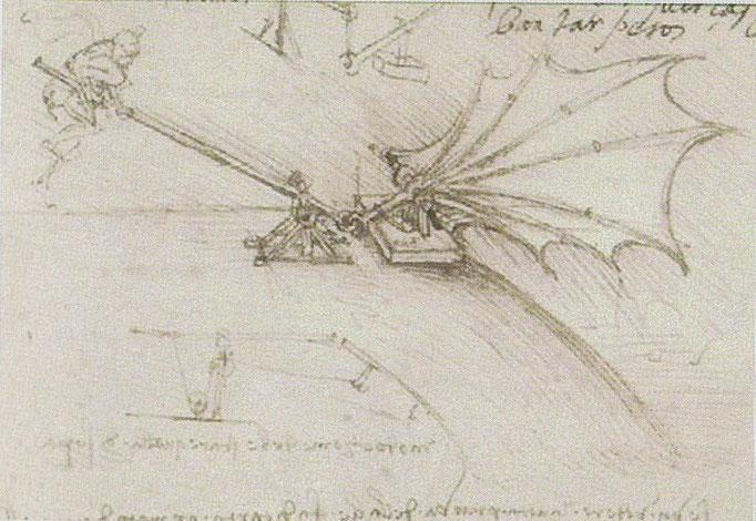 Da Vinci 1487 - 1490 Belastungsprobe eines Flügels