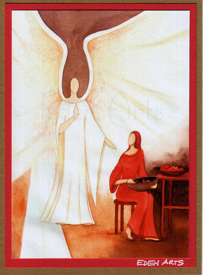 mit persönlicher Signatur 2,50€ Postkarte/ 3€ Doppelkarte auf goldene Pappe geklebt/ liebevolle Handarbeit - Verkündigung