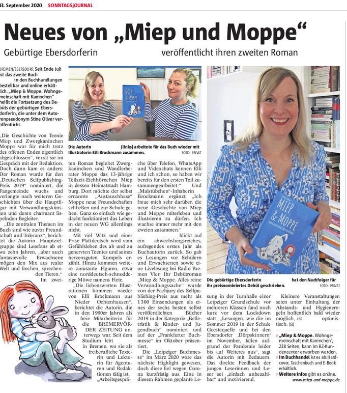 Bremervörder Zeitung (05.09.2020), Rundschau (09.09.2020) & Sonntagsjournal, (13.09.2020)
