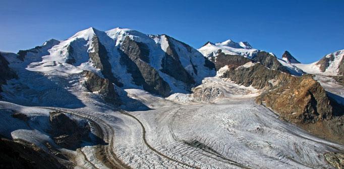 Piz Palü 3901 m Piz Bellavista 3922 m Crast`Agüzza 3854 m Piz Bernina 4049 m