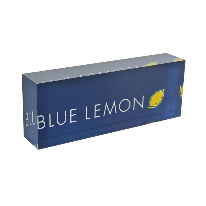 targhetta plexiglass BLUE LEMON personalizzazione in vetrofania