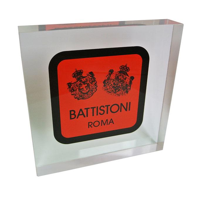 targhetta plexiglass BATTISTONI personalizzazione in vetrofania