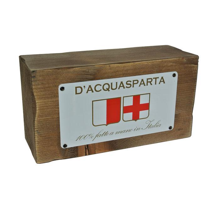 targhetta D'ACQUASPARTA in legno trattato e alluminio personalizzato