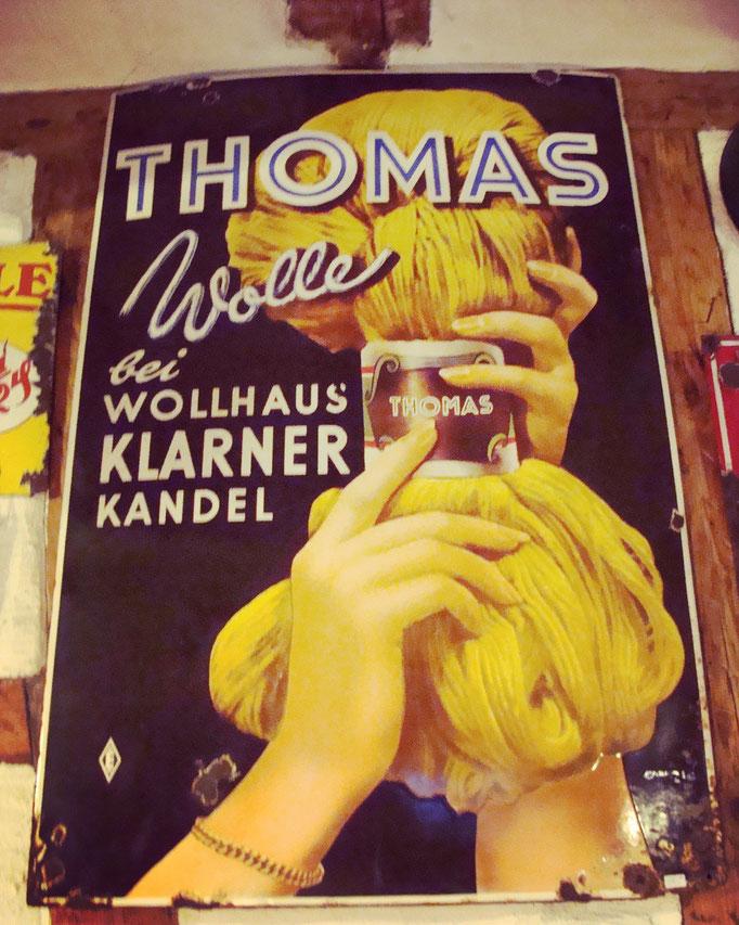 Thomas Wolle Emailleschild.
