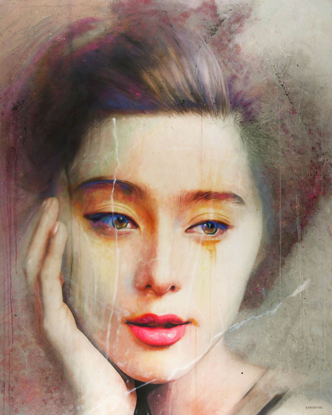 Tos Kostermans, China girl, Mixed Media on canvas, 130 x 160 cm