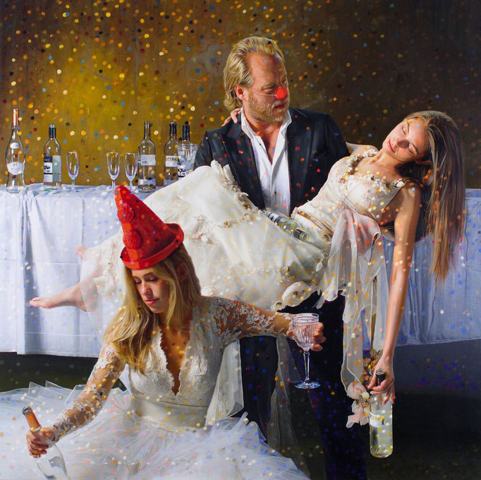 Tos Kostermans, After Party 1 AM, Mixed Media on canvas,  115 x 115 cm