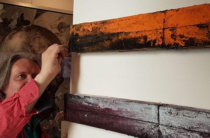 Mikko Paakkola,  mixed media on wood, 90x10 cm