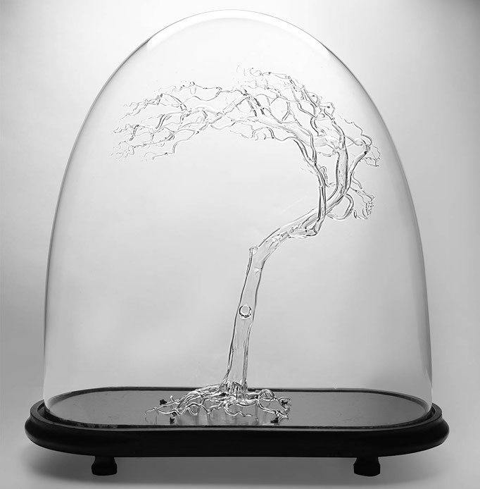 Ming Hou Chen Tree in antigue bell jar, 49x48x21 cm
