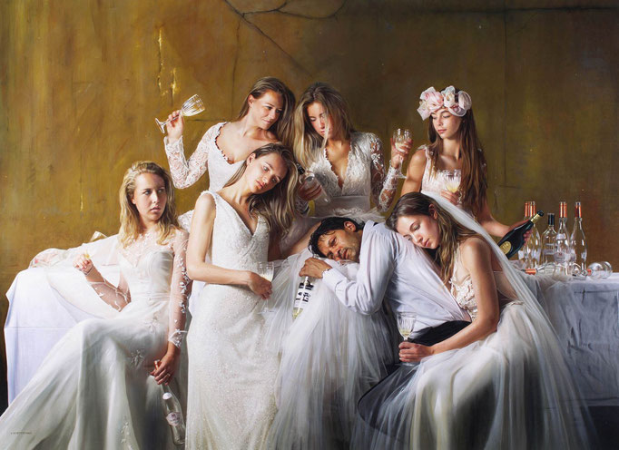 Tos Kostermans, After Party 1 AM, Mixed Media on canvas, 165 x 115 cm