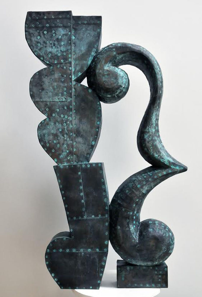 "Dawn Southworth, ""Sway III,"" 2015, patinated hammered copper, 42 x 32 x 8 inches, $10,000"
