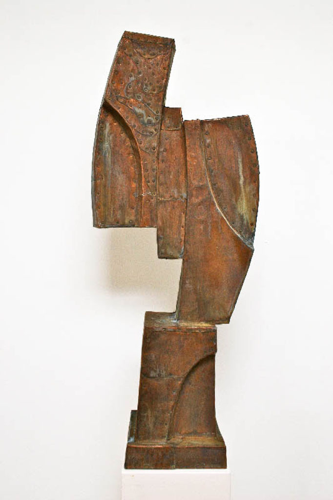 "Dawn Southworth, ""Captive,"" 2014, patinated hammered copper, 34 x 19 x 5 inches, $6,000"