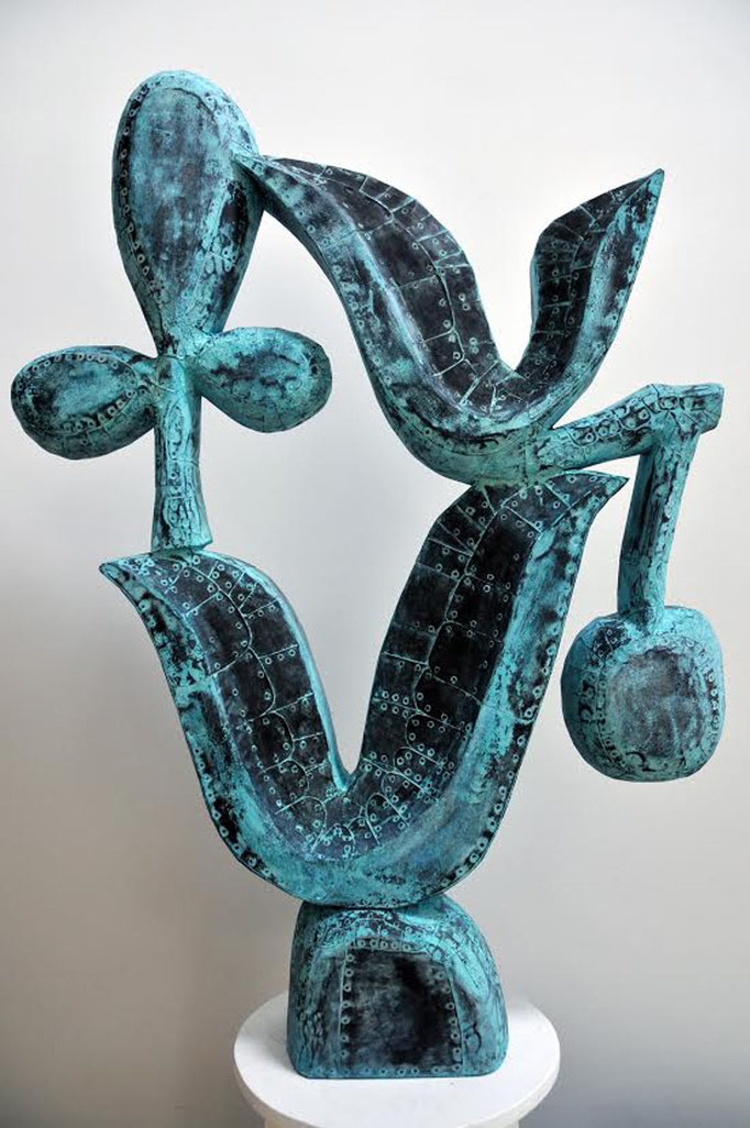 "Dawn Southworth, ""Hybrid II,"" 2015, patinated hammered copper, 42 x 32 x 8 inches, $10,000"