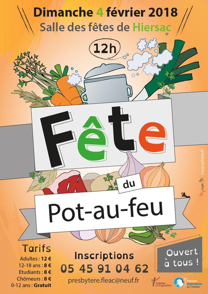 Affiche et flyer réalisés pour l'évènement paroissial du pot-au-feu (Notre-Dame des 7 Clochers - Diocèse Angoulême)