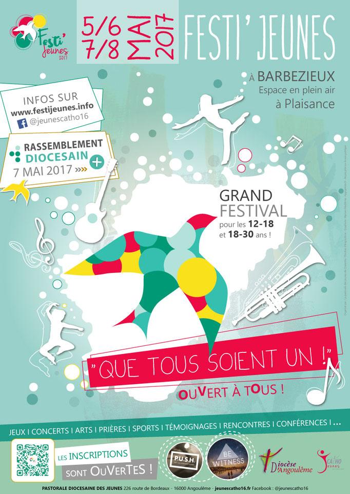 Réalisation de l'affiche du festival Festi'Jeunes 2017 - Format A2 - Diocèse d'Angoulême