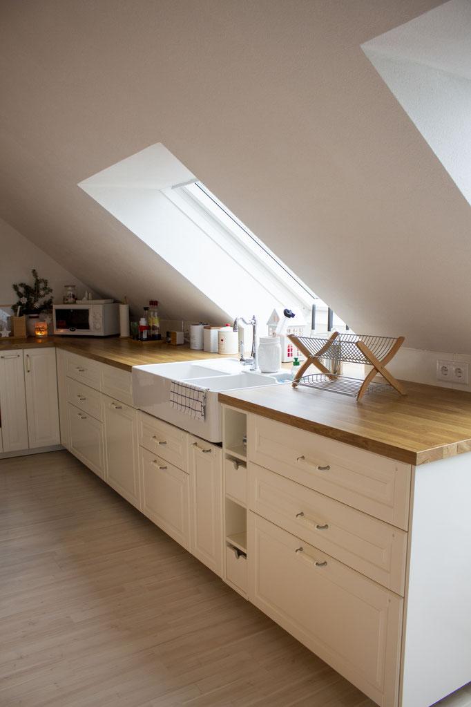 Arbeitsfläche mit meinem geliebten Waschbecken, Küche: Ikea, Waschbecken: Villeroy&Boch, Abtropfgitter: Tchibo