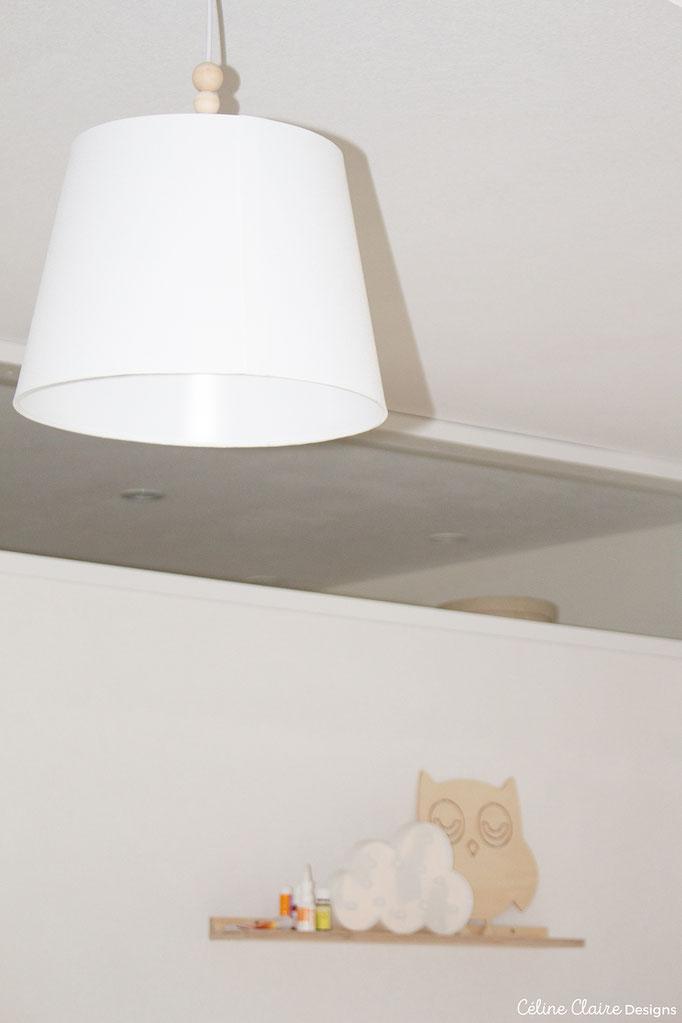 Lampenschirm: glaube Ikea, Holzkugeln: Amazon