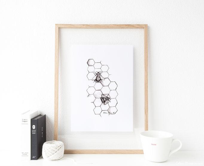 """Illustration """"Bienen"""" für Juli"""