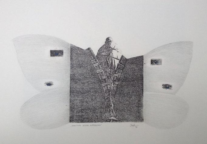 Berliner Kohlweißling, Monotypie, 50 x 35 cm, 1998. (627)