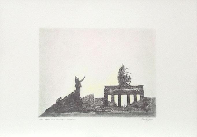 Darauf haben wir 40 Jahre gewartet, Monotypie, 35 x 50 cm, 1998. (635)