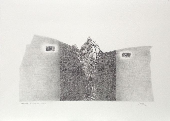 Berliner Mauerspinner, Monotypie, 35 x 50 cm, 1998. (636)