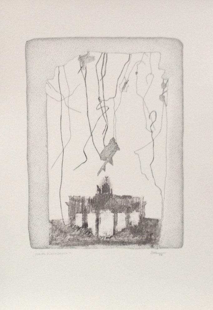 Mauerdurchbruch, Monotypie, 50 x 35 cm, 1997. (626)