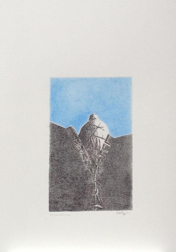 Maueröffnung, Monotypie, 50 x 35 cm, 1998. (634)
