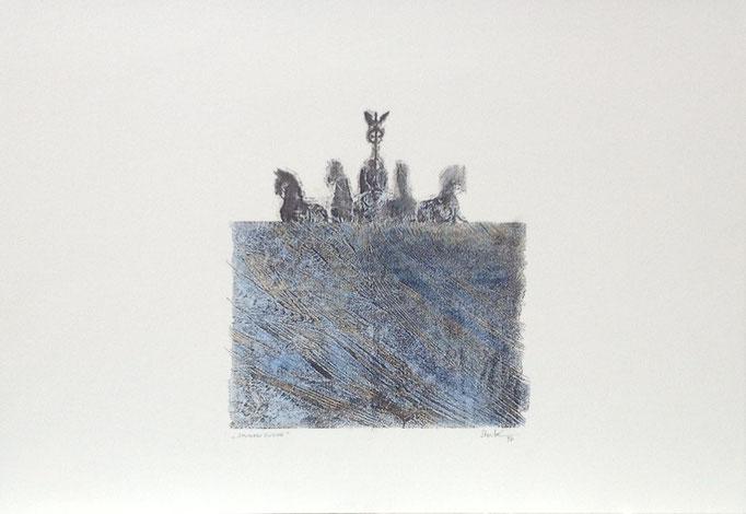 Spurensuche, Monotypie, 35 x 50 cm, 1997. (641)