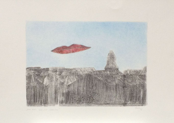 Man Ray besucht Christo, Monotypie, 50 x 35 cm, 1998. (630)